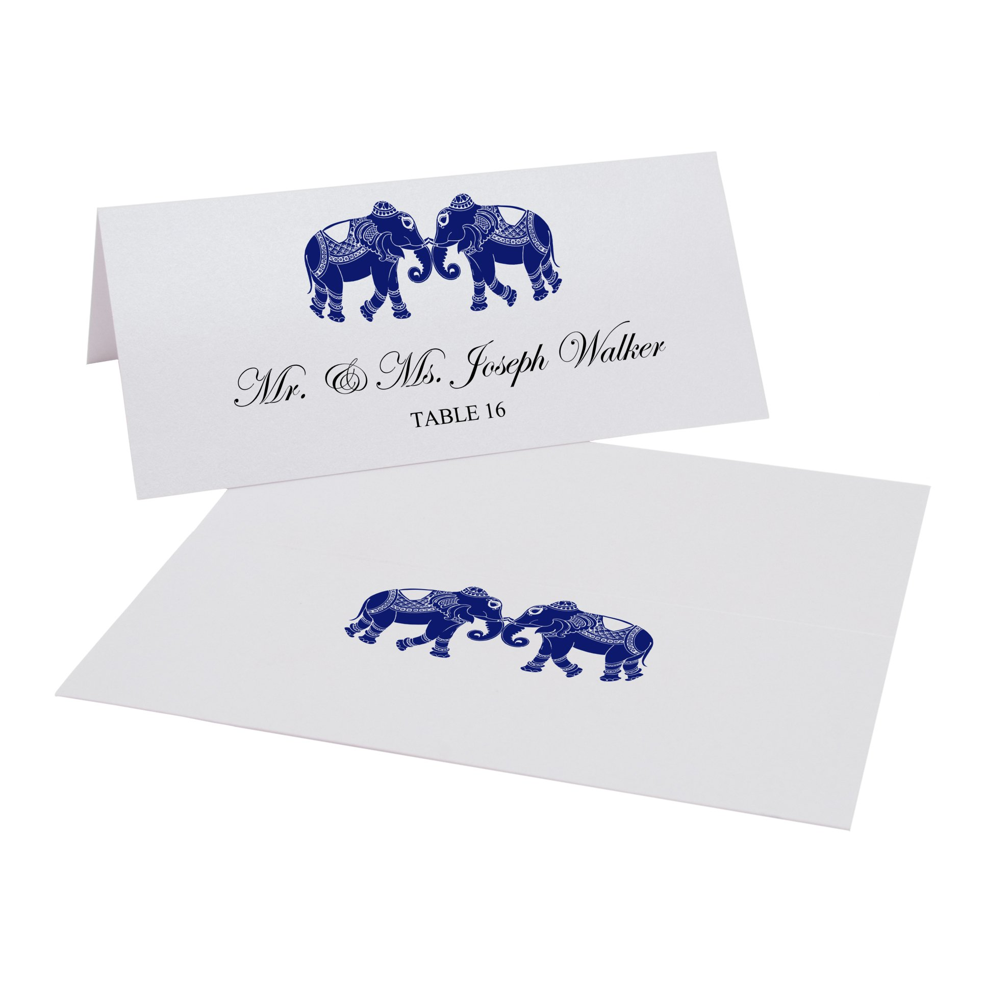 Indian Elephants Easy Print Place Cards, Pearl White, Navy, Set of 300 (75 Sheets) by Documents and Designs