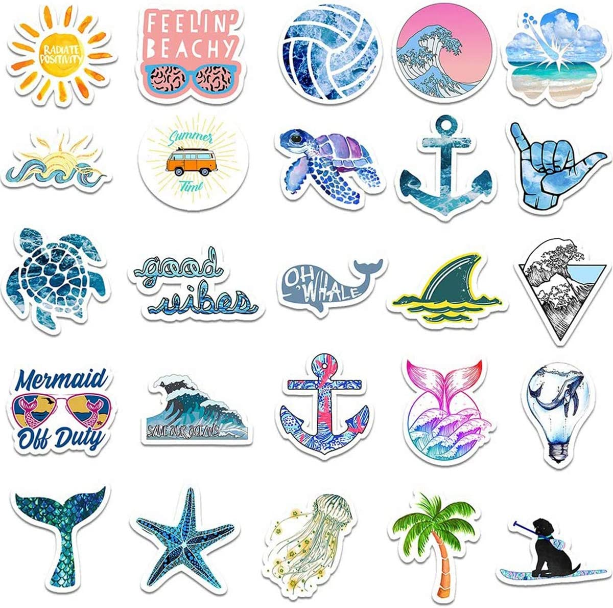 Vinyl Decals Waterproof The Beach Surfing Girls Beach Stickers 50pcs Blue Surfing Waves Fresh Lively Turtle Laptop and Water Bottle Vinyl Decals Cartoon Vitality Aesthetic Sticker Pack for Teens