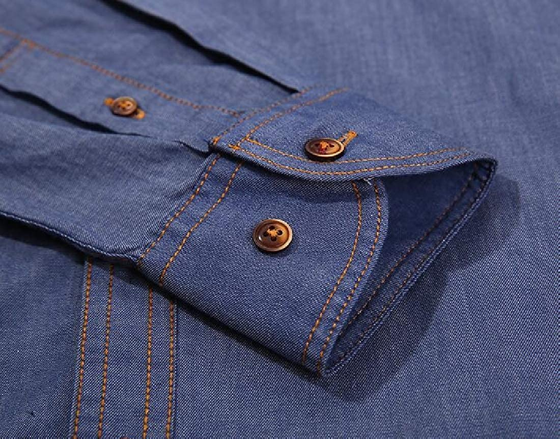 Jotebriyo Mens Slim Casual Lapel Cotton Long Sleeve Button Up Dress Shirt