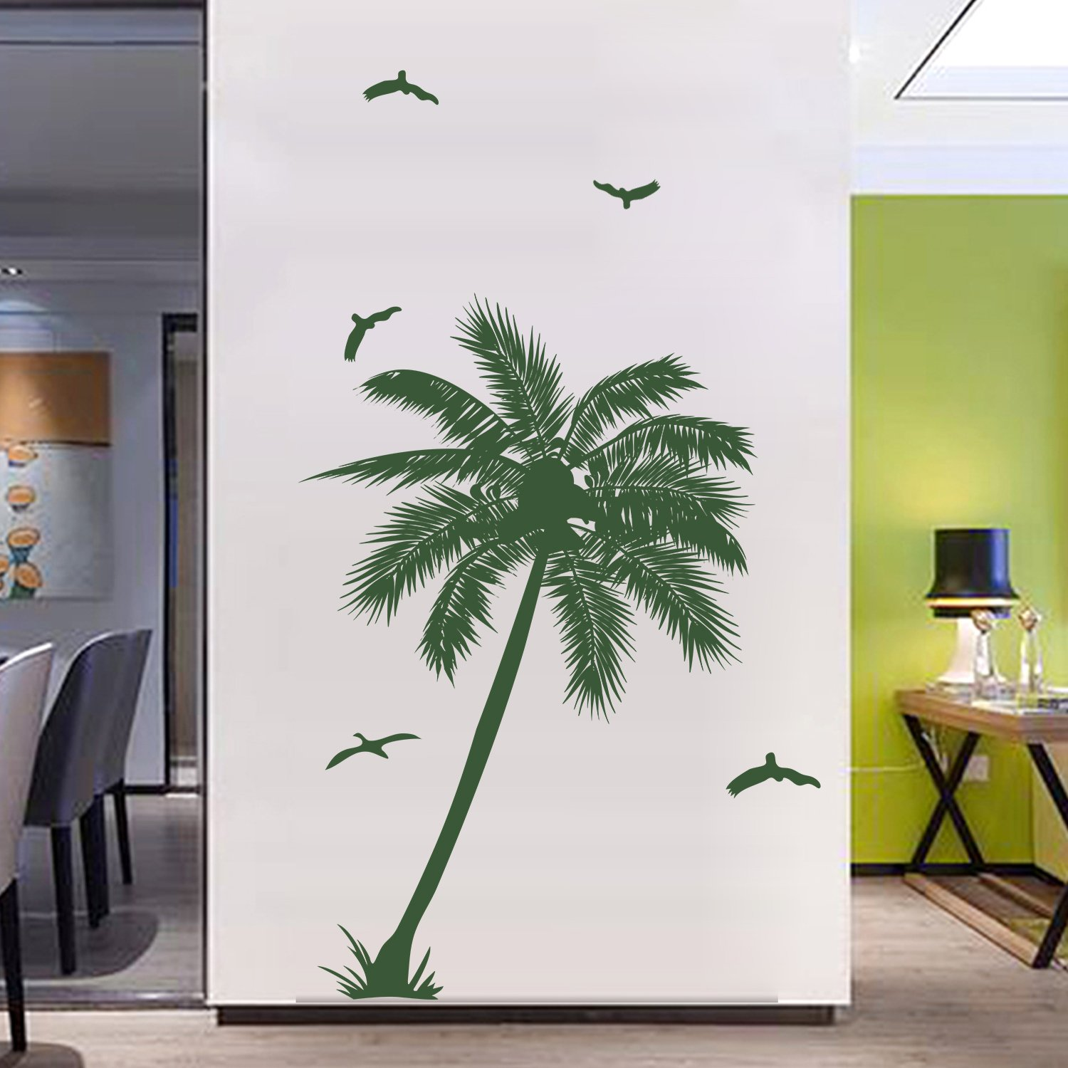 DecalMile Large Palm Tree Wall Decals Vinyl Removable Wall Stickers Bedroom  Living Room Office Wall Decor