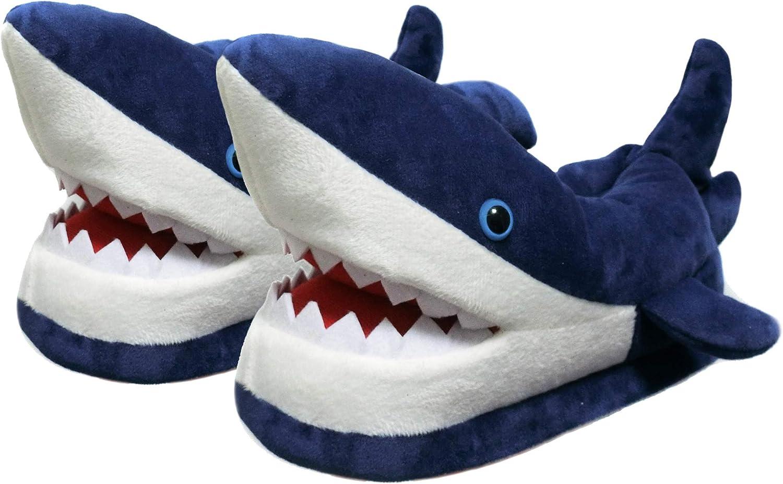 Friendly House Women's Fluffy Animal Slippers, Novelty Shark Whale Fish Slippers for Women and Men