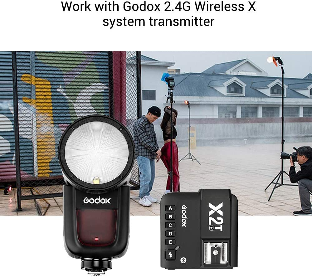 Godox V1P Camera Flash Speedlite Speedlight Round Head Flash Built-in 2.4G Wireless X System with X2T-P TTL Wireless Flash Trigger for PENTAX 645Z K-3II K-1 KP K-50 K-S2 K70