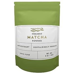 MatchaDNA Organic Matcha Green Tea Powder, 1 Pack of 8 Oz