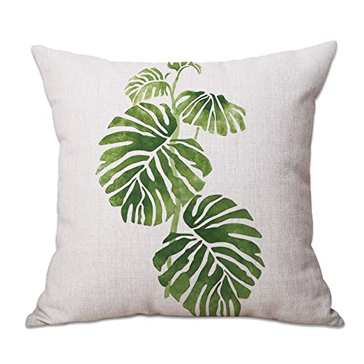 Cosanter Cojines Sofas Funda de Cojín con Estampado Tropical de Plantas Verdes de 45 cm Fundas Cojines para Decoración de Sofás de Casa