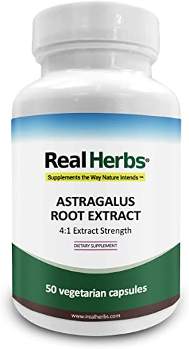 Real Herbs Astragalus Root Extract – Derived from 2800mg of Astragalus Root with 4 1 Extract Strength – Promotes Cardiovascular Health, Boosts Immune Function – 50 Vegetarian Capsules – Gluten Free
