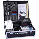 Shark Pro Tattoo Kit 2 Machines Gun Carry Case With Key Power Supply Needles 8 Grips Tips