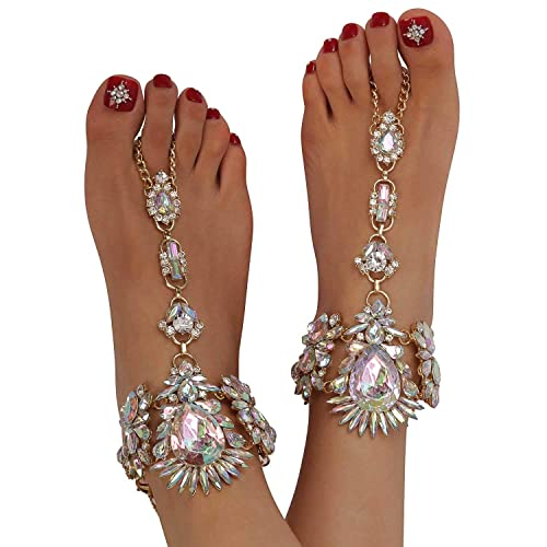 e44e6b5ad Holylove Foot Jewelry for Women Barefoot Sandals Beach Big Foot Size Crystal  Anklets Chains Wedding Vocation
