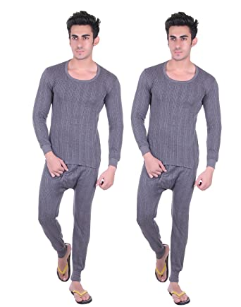 7d05f07adc3 Unix Men s Grey Thermal Set Winter Wear (Top