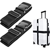 Luxebell®スーツケースベルト ワンタッチ式ベルト 荷物ストラップ 調整可能 荷物固定バックル 荷崩れ防止 ナイロン ベルト 2本セット (200cm)