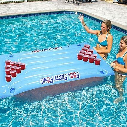 HIPENGYANBAIHU Inflable Cerveza Pong Flotador Mesa Piscina Balsa ...
