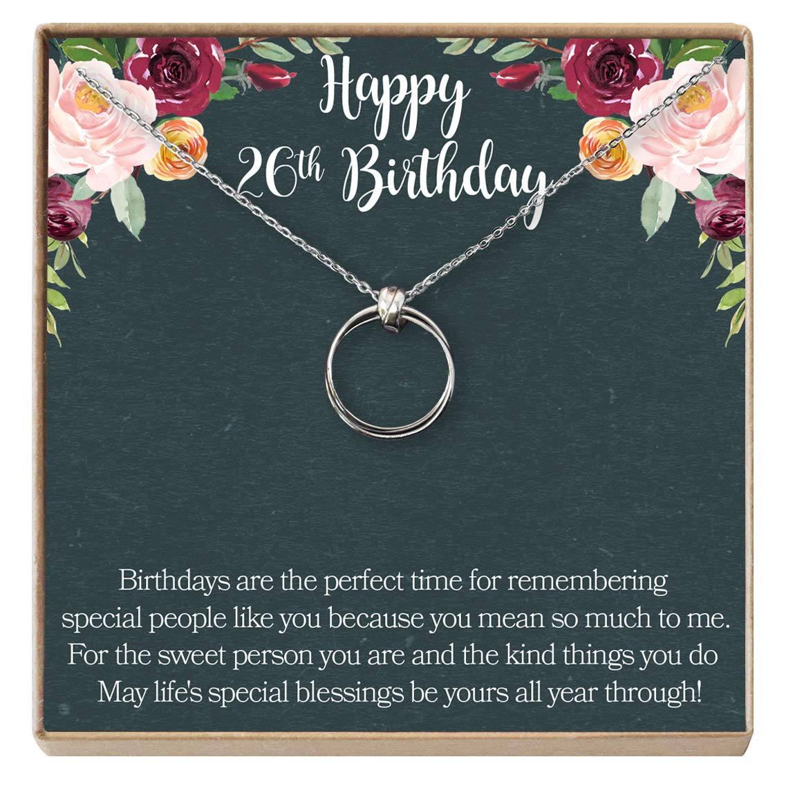 Dear Ava 26th Birthday Gift Necklace 2 Linked Circles Birthday Gift Jewlery Gift for Her