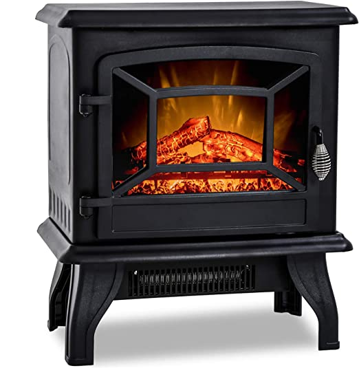 20 H Electric Fireplace Heater Portable Freestanding Fireplace Stove Space Heater Thermostat Csa Approved Realistic Flame Logs Vintage Design 17 L X