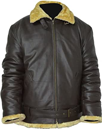 Men's Dunkirk Tom Hardy Farrier Bomber Aviator Faux Fur Brown Real Leather Jacket