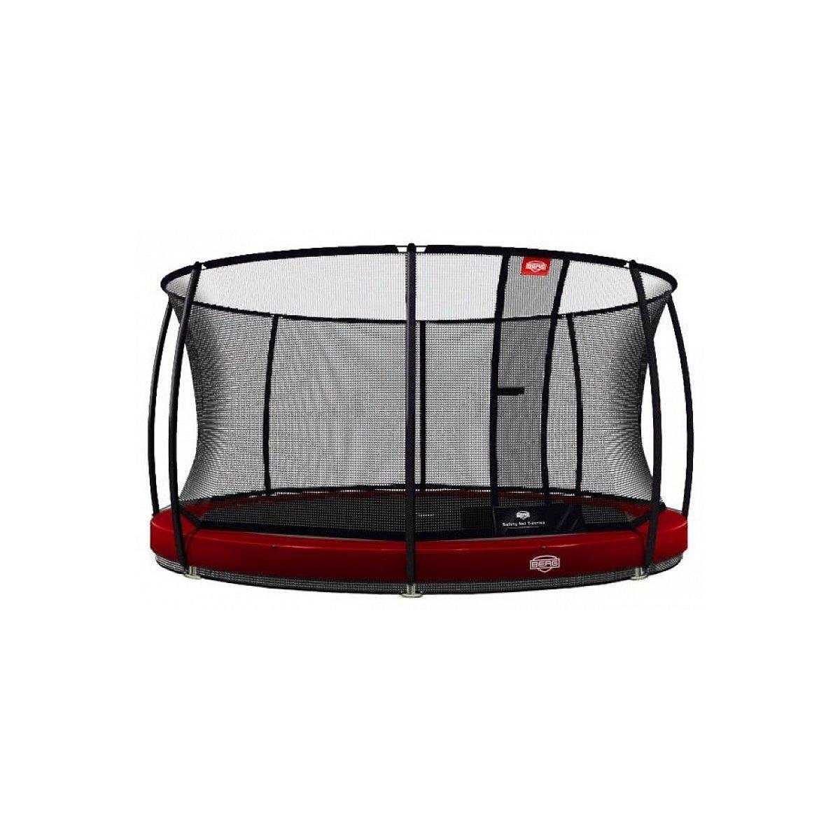 Berg® Trampolin InGround Elite mit Sicherheitsnetz Deluxe, ø 430 cm, Rot