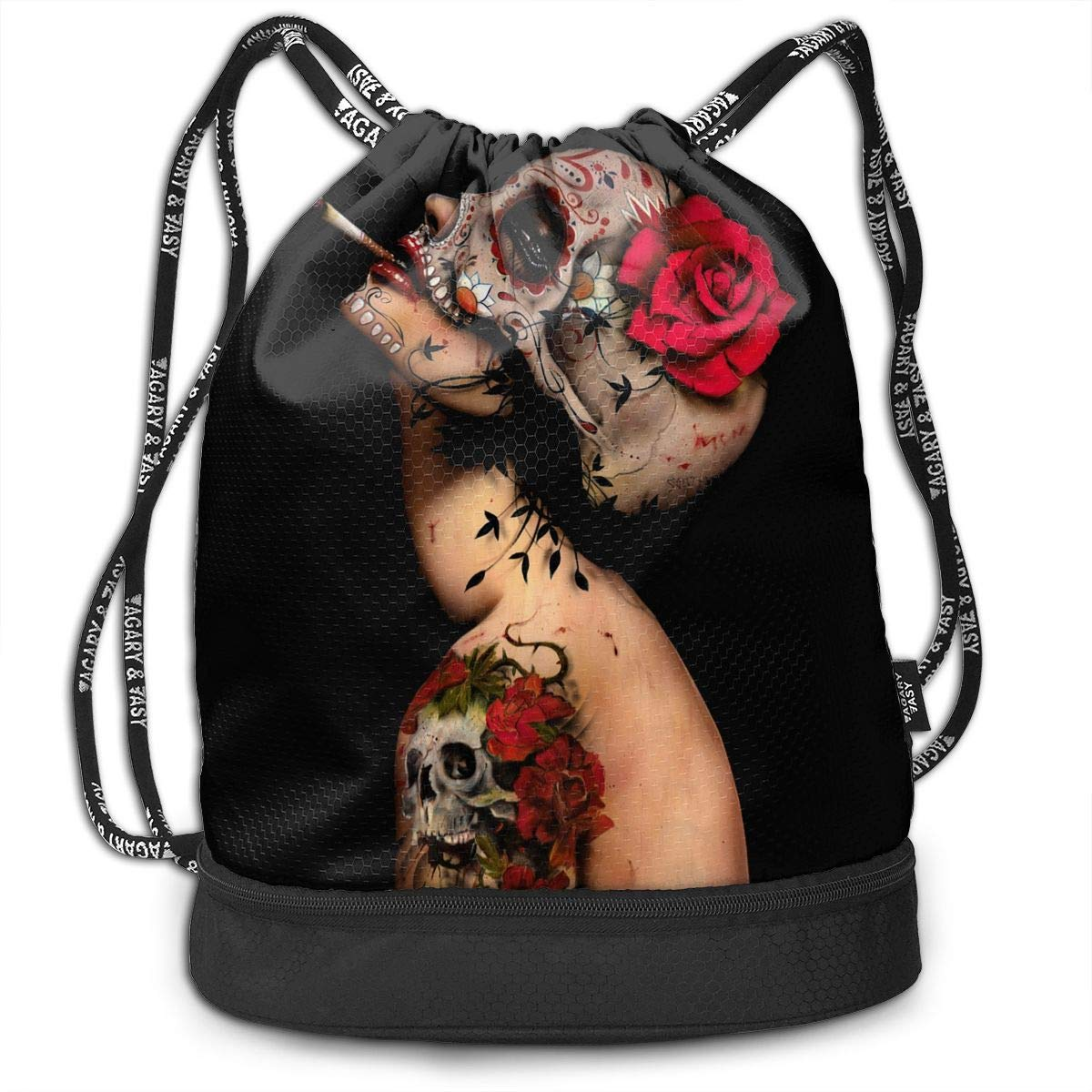 Amazon.com: 3D Print Drawstring Backpack - Viva La Muerte ...