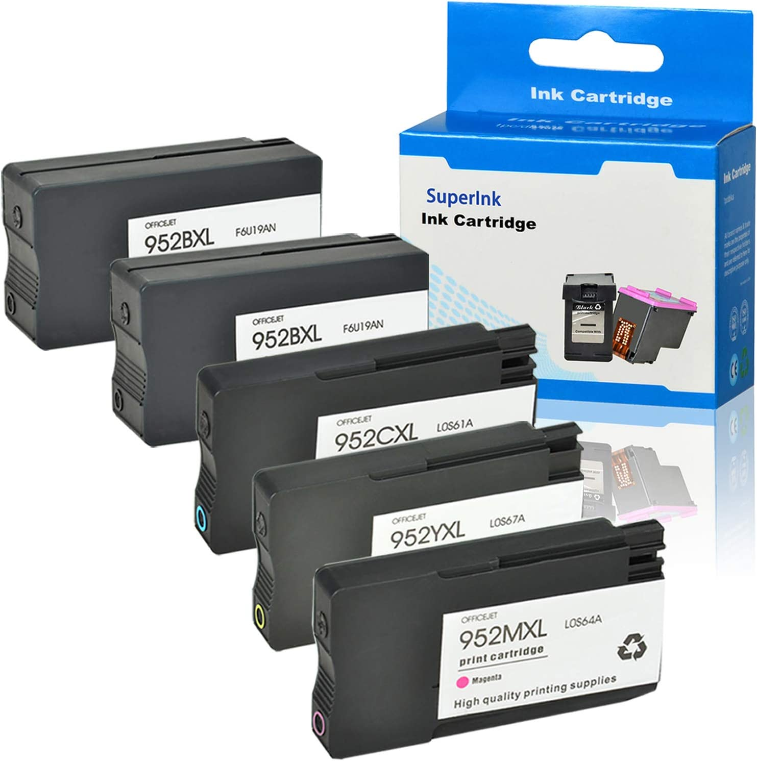 SuperInk High Yield Remanufactured Ink Cartridge Compatible for HP 952 952XL 952 XL use in Officejet Pro 8710 8720 8216 7720 7740 8200 8210 8715 8740 2 Black 1 Cyan 1 Yellow 1 Magenta,5-Pack