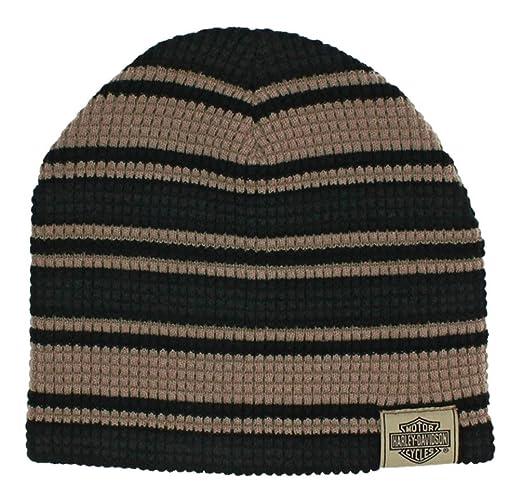Harley Davidson Mens Striped H D Embroidered Knit Beanie Hat Black