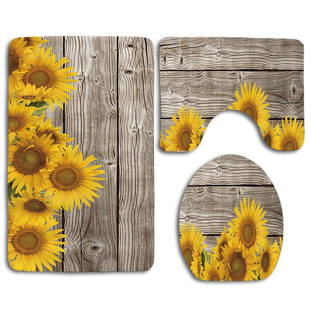 EnmindonglJHO Natural Plant Sunflowers with Leaves on Wooden 3pcs Set Rugs Skidproof Toilet Seat Cover Bath Mat Lid Cover Cushions Pads by EnmindonglJHO