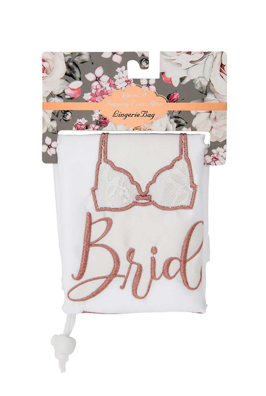 Miamica Women's Drawstring Bridal Lingerie Bag, White