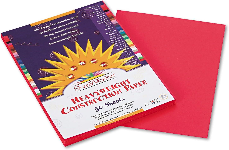 SunWorks 6317 Construction Paper Black 58 lbs 18 x 24 50 Sheets//Pack