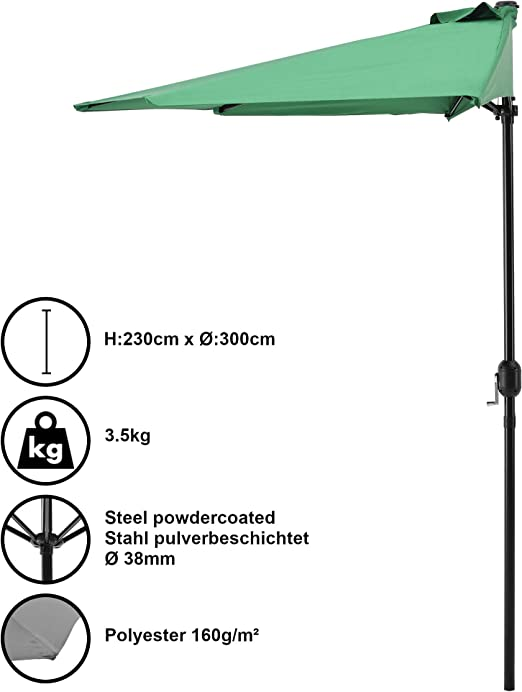 casa.pro] Sombrilla de media pantalla con manivela verde Ø300cm ...