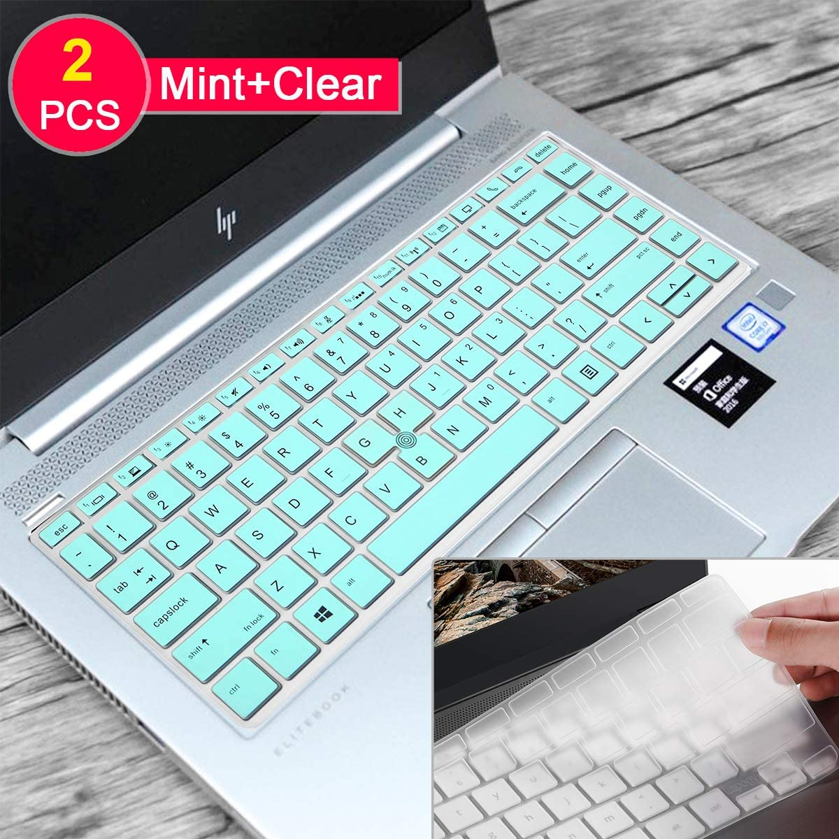 [2 Pcs] Silicone Keyboard Cover Skin for HP Elitebook 745 G5&G6,Elitebook 840 G5&G6 14 inch,HP Zbook 14U G5&G6,HP Elitebook G5,probook 640 G2 Keyboard Cover 14 inch,Mint+Clear