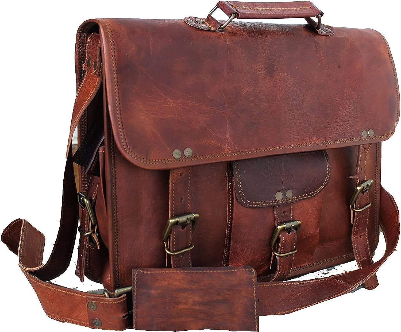 Skyland 20 Inch Leather Messenger Bag Shoulder Men Laptop Briefcase Vintage Satchel (Brown)