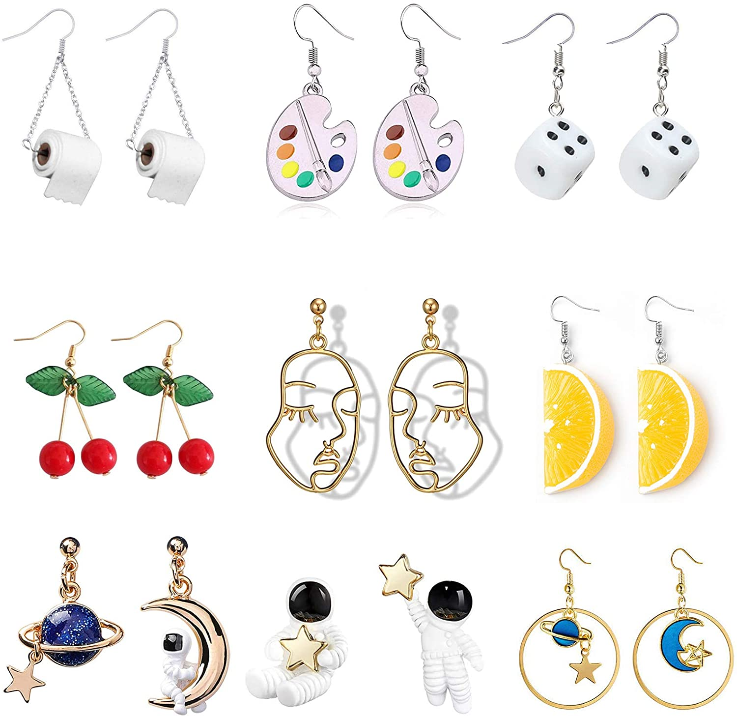 9 Pairs Cute Funny Earrings Toilet Paper Dice Earrings Cherry Face Orange Universe Planet Astronaut Earrings for Girls Women