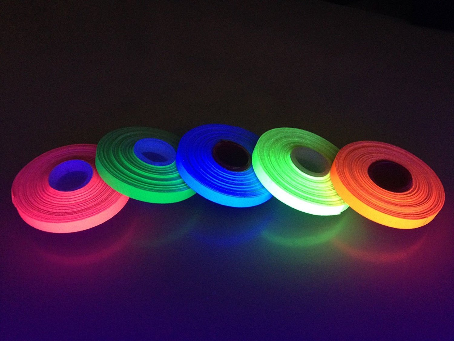 """1/4"""" Gaffers Tape 5 Roll Pack UV Neon 15 ft Rolls ALL Neon Colors"""
