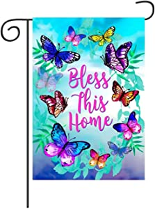 Bless This Home Spring Butterfly Garden Flag Vertical Double Sided 12 X 18 Inch Decorative Flag For All Seasons And Holidays Welcome Farmhouse Burlap Yard Outdoor Decor Weather Resistant House Flag