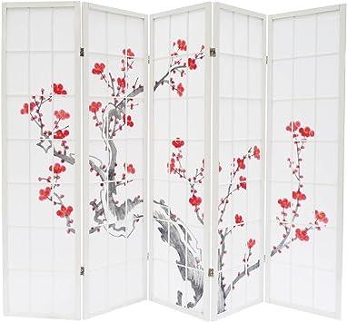 Dépôt515 Biombo cerezo en flor blanco 5 Paneles: Amazon.es: Hogar