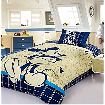 Disney Mickey Mouse Bedding Set 100% Cotton Cartoon Duvet Cover Blue Sheet Set Single Queen Size for Children Beddings (Queen 4pcs): Home & Kitchen