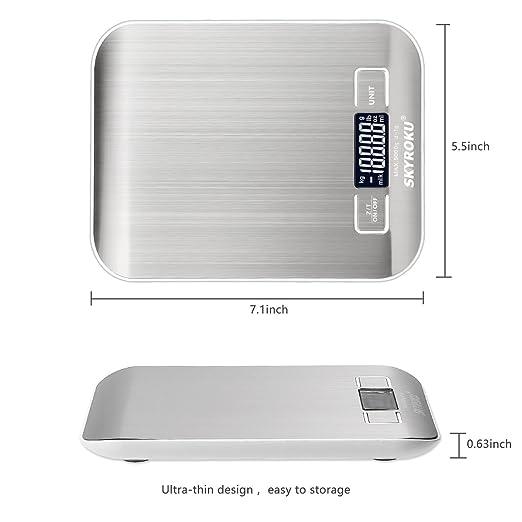 Digital Alimentos Escala, skyroku multifunción báscula de cocina de alta precisión digital de bolsillo escala con pantalla LCD: Amazon.es: Hogar