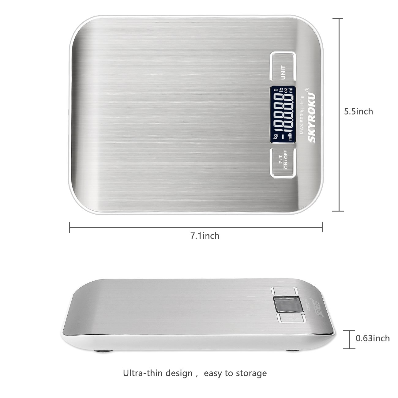 Digital Kitchen Scale, SKYROKU Multifuction Food Scale with LCD Display, 11lb 5kg, Stainless Steel, Silver(No Battery Included)