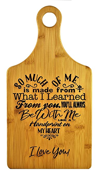 Review Mothers Gift – Special Love Heart Poem Bamboo Cutting Board Design Mom Gift Mothers Day Gift Mom Birthday Christmas Gift Engraved Side For Décor Hanging Reverse Side For Usage (7x13.5 Paddle)