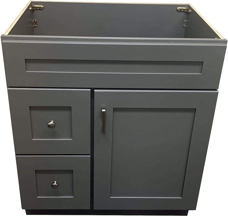 New Grey Shaker Single-Sink Bathroom Vanity Base Cabinet 30 Wide x 21 Deep GS-V3021DLR