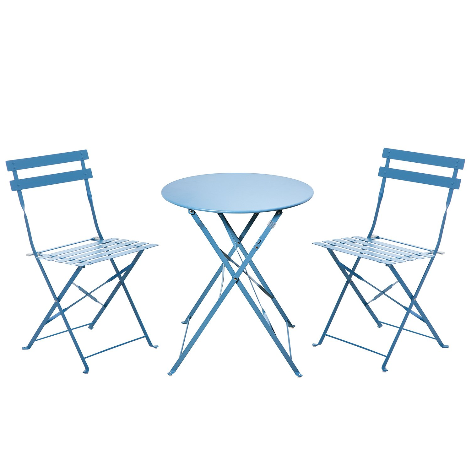 Grand patio 3 Pcs Folding Bistro Set,Patio Outside Dining Table and 2 Chairs Set, Blue