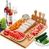 Cheese Board and Knife Set, Organic Bamboo Wood Charcuterie Board and Serving Platter Including 4 Stainless Steel Knife, Orga