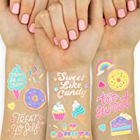 xo, Fetti Donut Party Supplies Temporary Tattoos - 48 Glitter Styles   Dessert Birthday, Ice Cream, Cupcake, Candy…