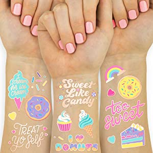 xo, Fetti Donut Party Supplies Temporary Tattoos - 48 Glitter Styles | Dessert Birthday, Ice Cream, Cupcake, Candy, Valentine's Day