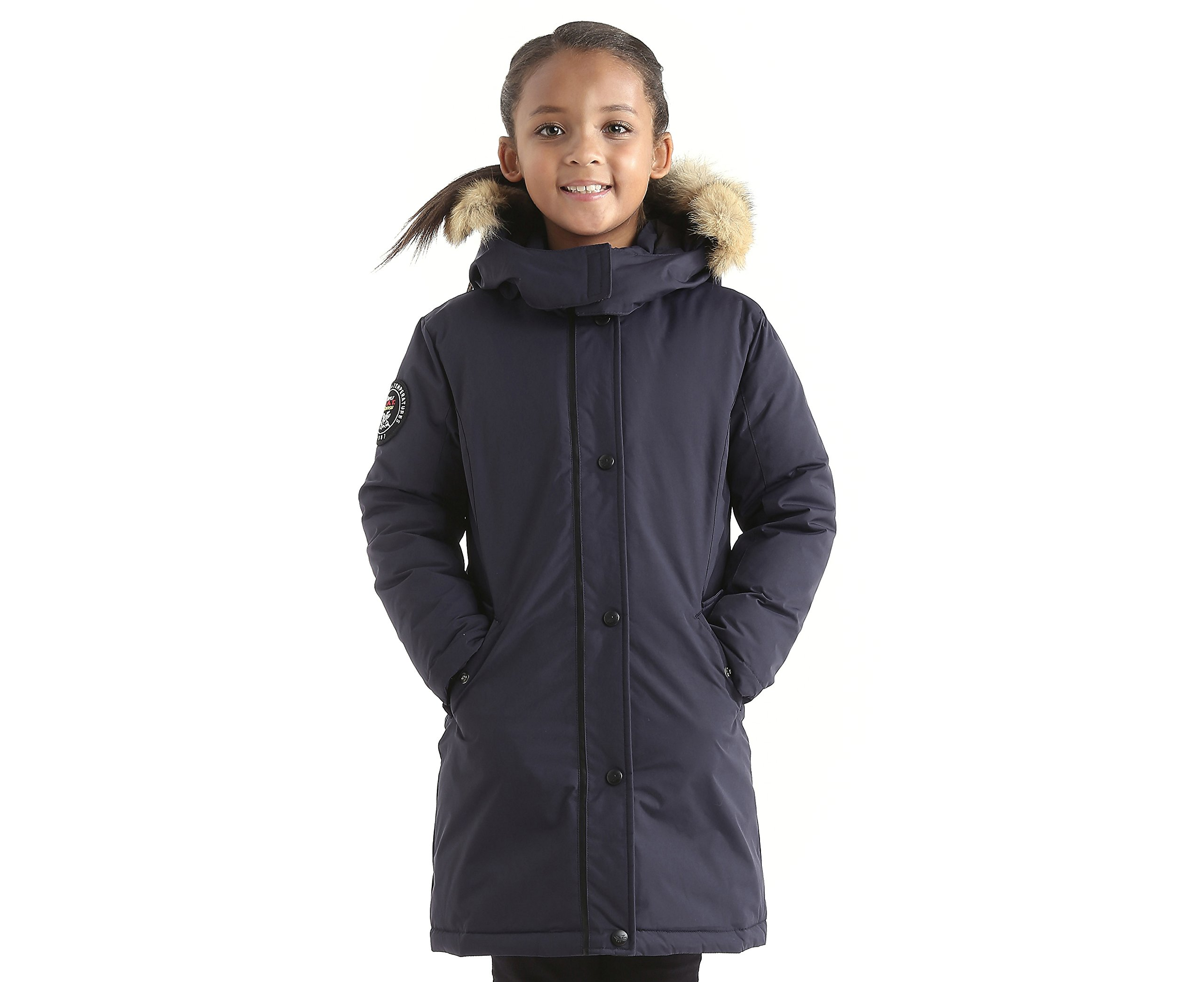 Triple F.A.T. Goose Alistair Girls Down Jacket Parka with Real Coyote Fur (14, Navy) by Triple F.A.T. Goose
