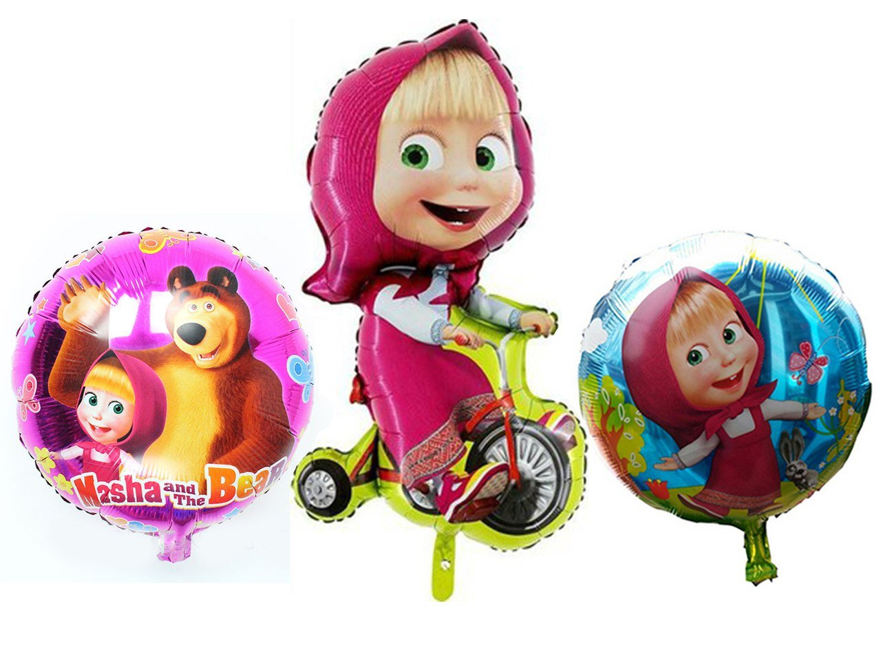 15.3-39inch 3Psc Metal Inflatable Balloon Masha and Bear Holiday Childrens Kids Party Party Favor Party Supplies Invitation Deco Russian Cartoon