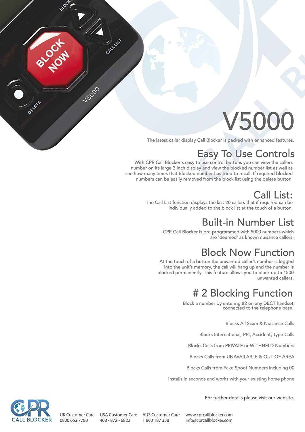 Cpr V5000 Call Blocker  Stop All Unwanted Calls At The: Amazon:  Electronics