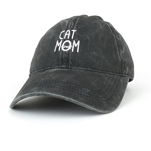 a13239a5a19 Trendy Apparel Shop Cat Mom Text Embroidered Washed Cotton Baseball Cap  (One Size