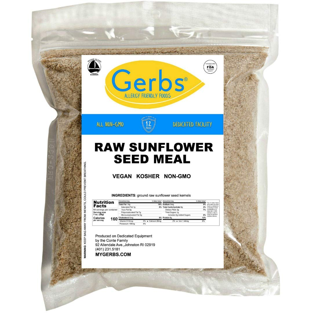 GERBS Ground Sunflower Seed Meal, 64 ounce Bag, Top 14 Food Allergy Free, Non GMO, Vegan, Keto, Paleo Friendly
