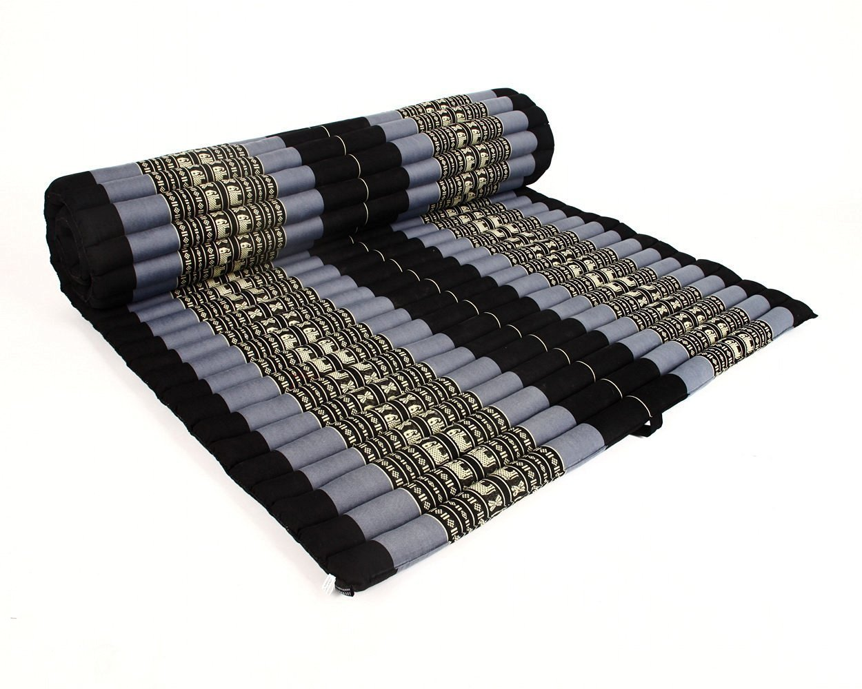 Design by UnseenThailand Roll Up Thai Mattress, Kapok Fabric, Premium Double Stitched, 79x41x2 inches. (Black - Blue)