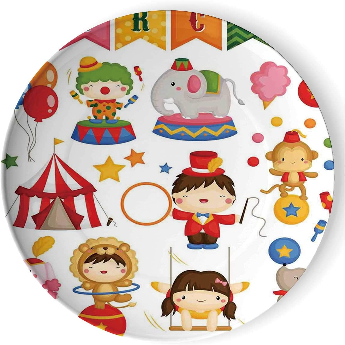 C COABALLA Colorfulta Claus Rides Reindeer Sleigh Flying in The Sky Home Ceramic Colorful Plate Collectible,055529 with Stand,6