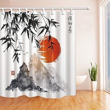 Amazon.com: NYMB Japanese Bamboo Trees Sun and Mountains Bath ...