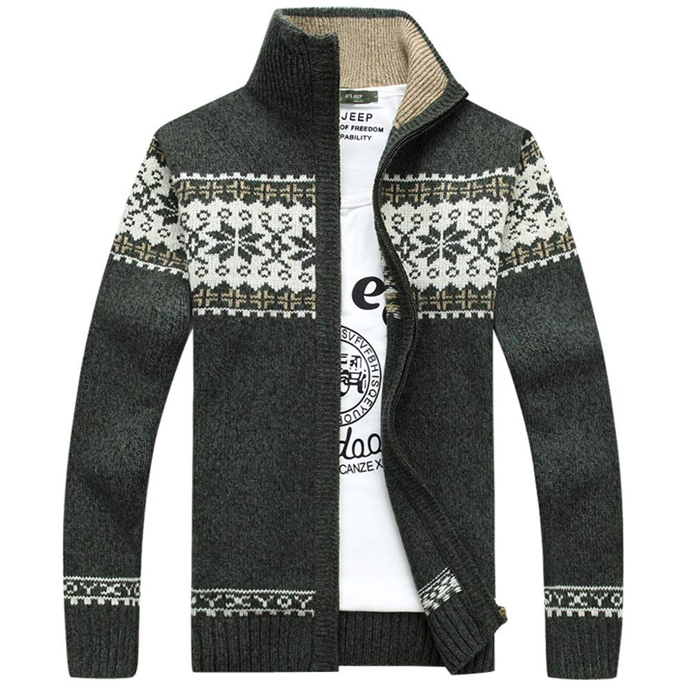 Men Winter Coat Sale Fashion Jacquard Stand Collar Slim Thickening Knitted Leisure Jacket