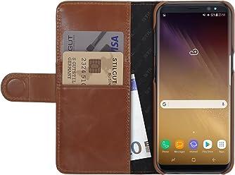StilGut Housse pour Samsung Galaxy S8+ Porte-Cartes en Cuir véritable à Ouverture latérale et Languette magnétique, Cognac